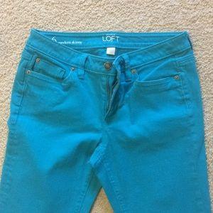 Turquoise Loft Modern Skinny size 6 jeans